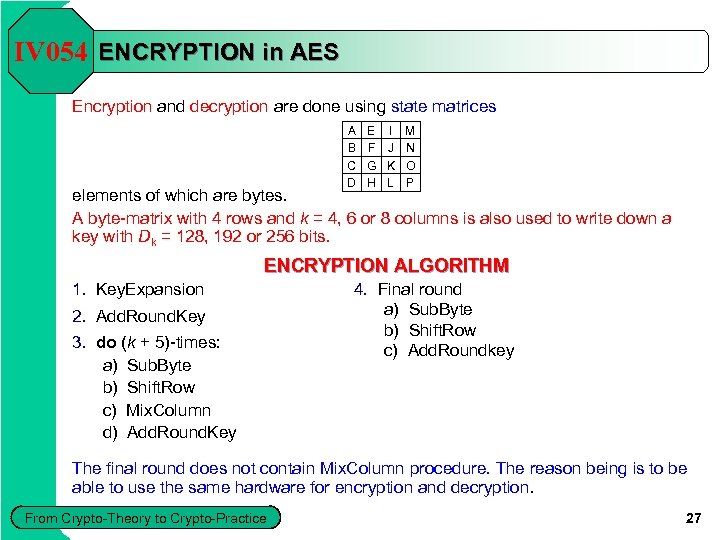 IV 054 ENCRYPTION in AES Encryption and decryption are done using state matrices A
