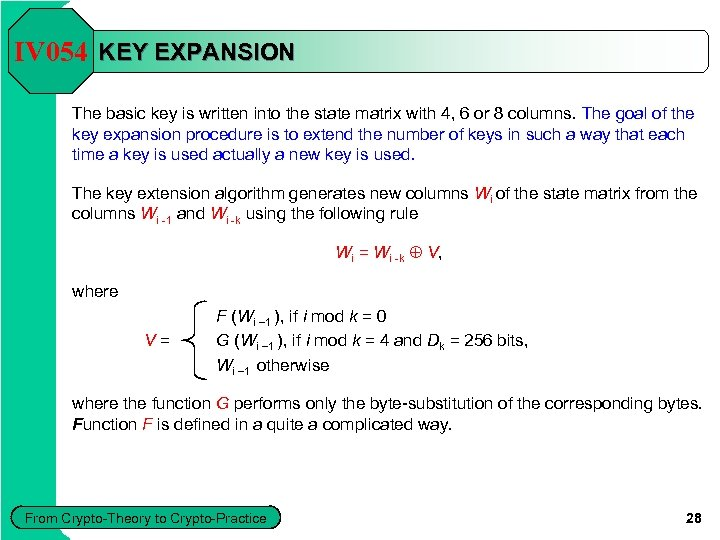 IV 054 KEY EXPANSION The basic key is written into the state matrix with