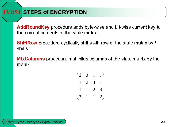 IV 054 STEPS of ENCRYPTION Add. Round. Key procedure adds byte-wise and bit-wise current