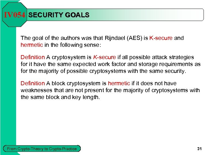 IV 054 SECURITY GOALS The goal of the authors was that Rijndael (AES) is