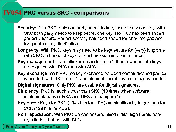 IV 054 PKC versus SKC - comparisons Security: With PKC, only one party needs