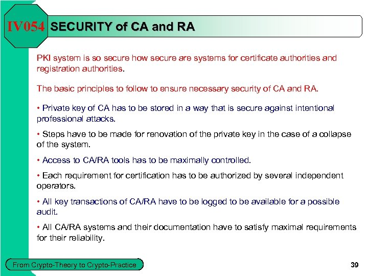 IV 054 SECURITY of CA and RA PKI system is so secure how secure