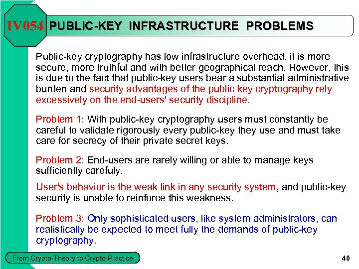 IV 054 PUBLIC-KEY INFRASTRUCTURE PROBLEMS Public-key cryptography has low infrastructure overhead, it is more