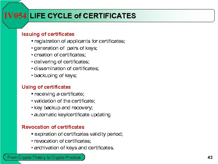 IV 054 LIFE CYCLE of CERTIFICATES Issuing of certificates • registration of applicants for