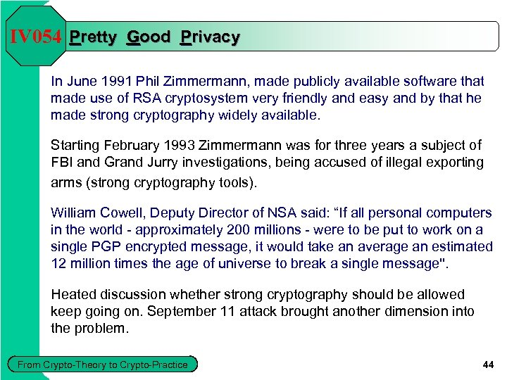 IV 054 Pretty Good Privacy In June 1991 Phil Zimmermann, made publicly available software