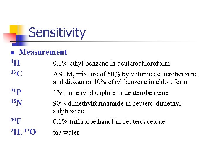 Sensitivity Measurement 1 H 0. 1% ethyl benzene in deuterochloroform 13 C ASTM, mixture