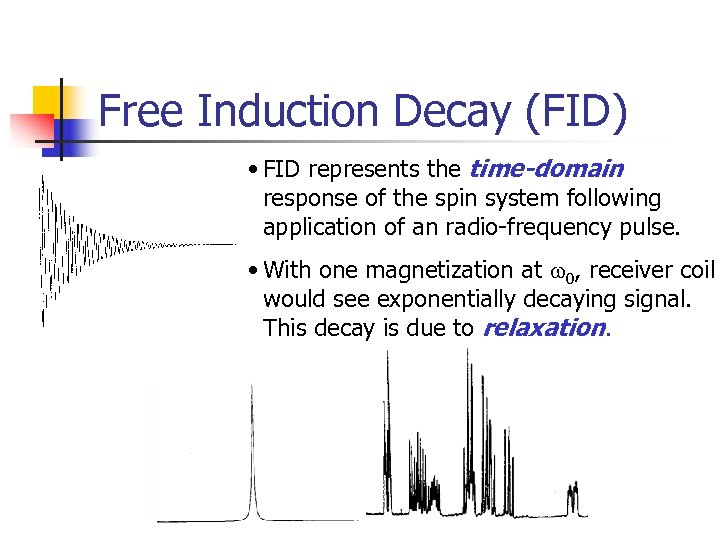Free Induction Decay (FID) • FID represents the time-domain response of the spin system