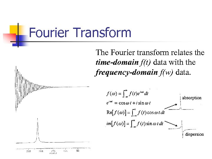 Fourier Transform The Fourier transform relates the time-domain f(t) data with the frequency-domain f(w)