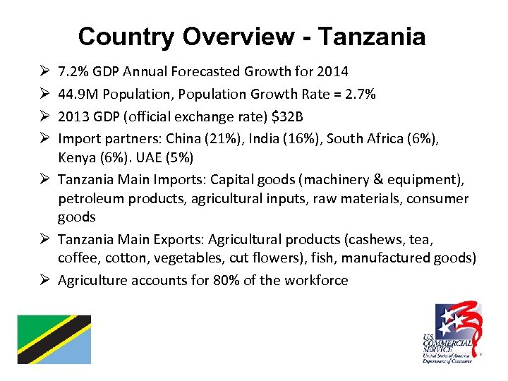 Country Overview - Tanzania 7. 2% GDP Annual Forecasted Growth for 2014 44. 9