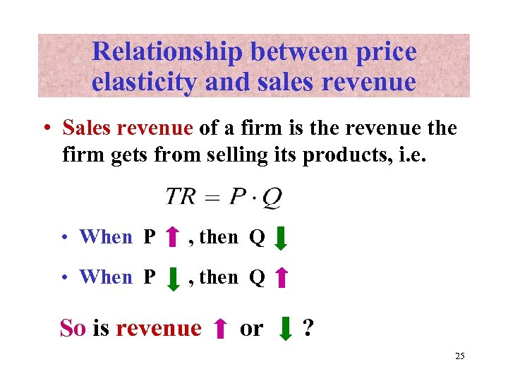 Relationship between price elasticity and sales revenue • Sales revenue of a firm is