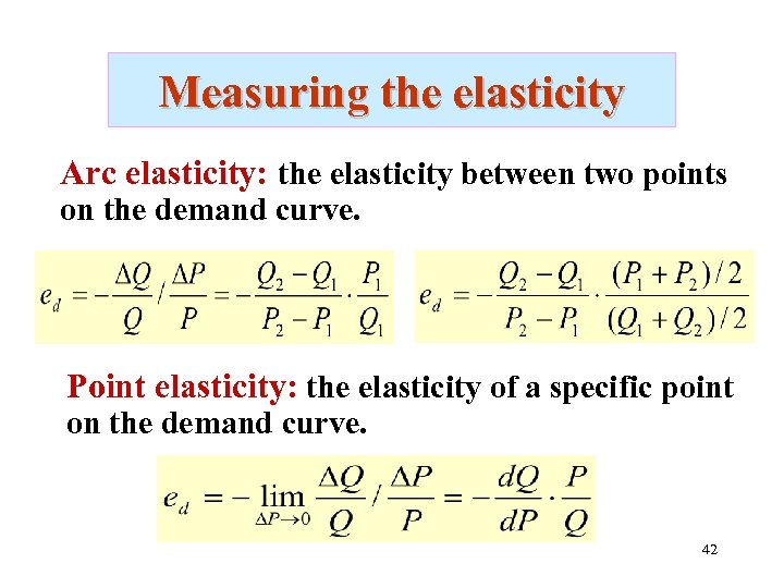 Measuring the elasticity Arc elasticity: the elasticity between two points on the demand curve.