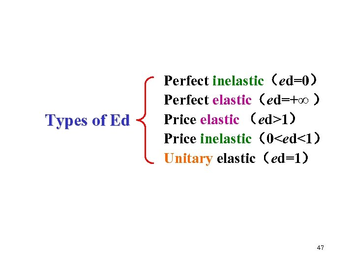 Types of Ed Perfect inelastic(ed=0) Perfect elastic(ed=+∞ ) Price elastic (ed>1) Price inelastic(0<ed<1) Unitary