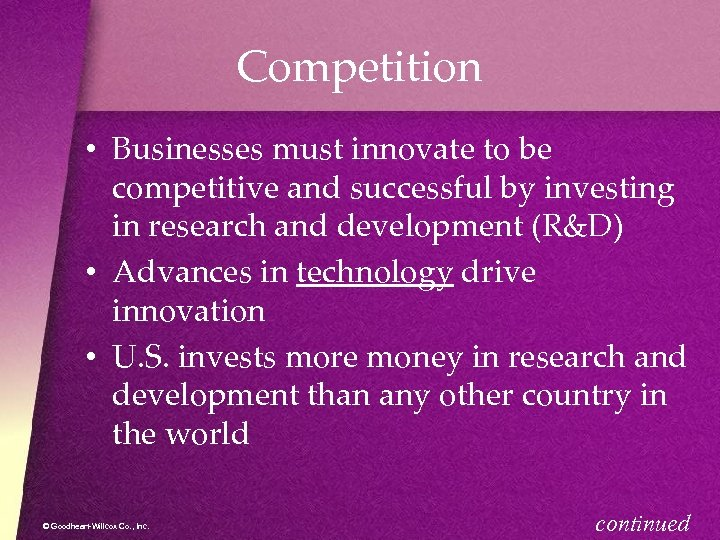 Competition • Businesses must innovate to be competitive and successful by investing in research