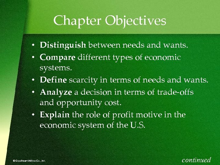 Chapter Objectives • Distinguish between needs and wants. • Compare different types of economic