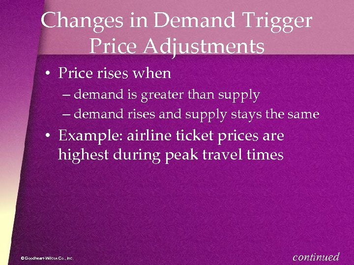 Changes in Demand Trigger Price Adjustments • Price rises when – demand is greater