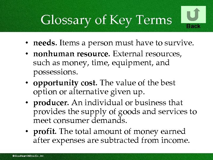 Glossary of Key Terms Back • needs. Items a person must have to survive.