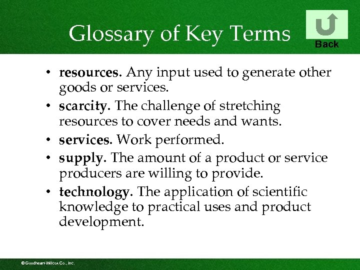 Glossary of Key Terms Back • resources. Any input used to generate other goods