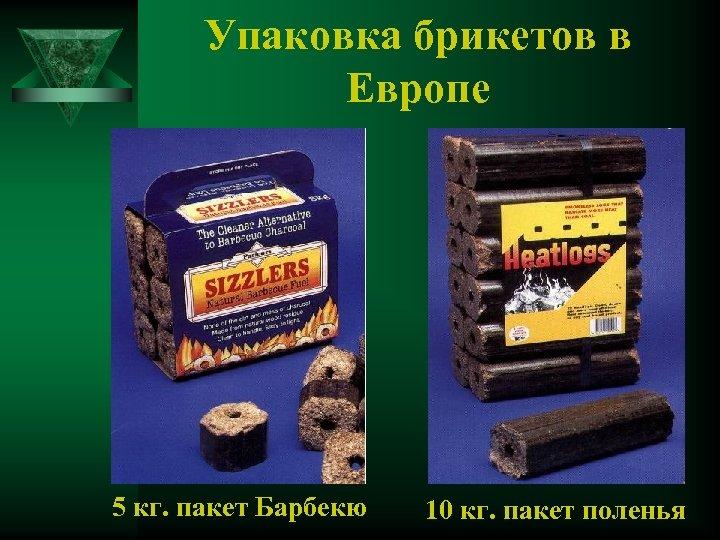 Упаковка брикетов в Европе 5 кг. пакет Барбекю 10 кг. пакет поленья