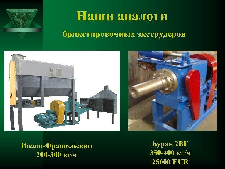 Наши аналоги брикетировочных экструдеров Ивано-Франковский 200 -300 кг/ч Буран 2 ВГ 350 -400 кг/ч