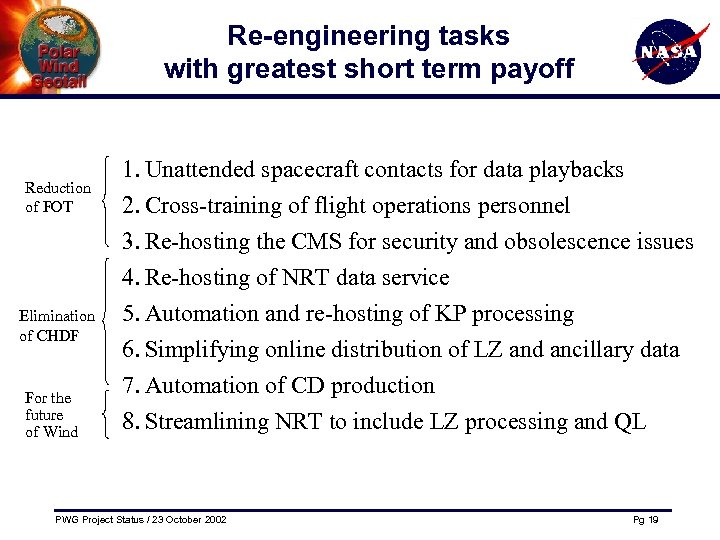 Re-engineering tasks with greatest short term payoff Reduction of FOT Elimination of CHDF For