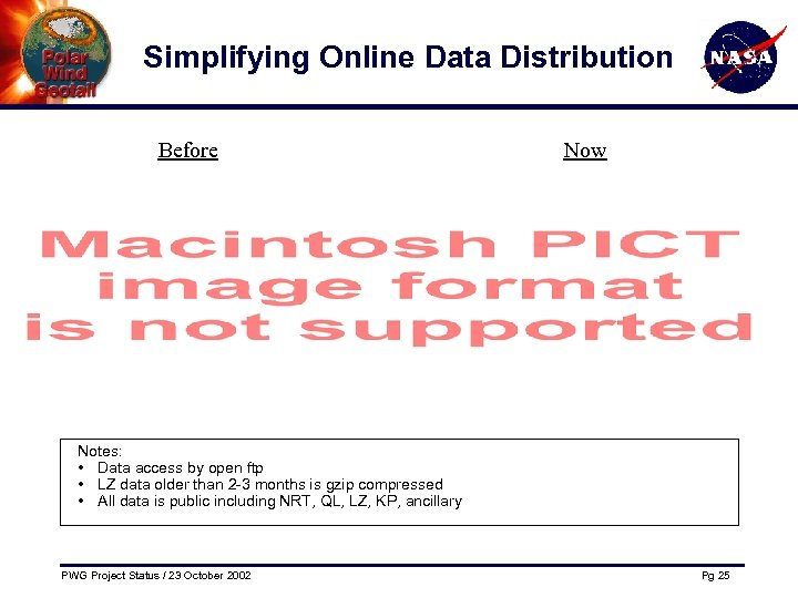 Simplifying Online Data Distribution Before Now Notes: • Data access by open ftp •