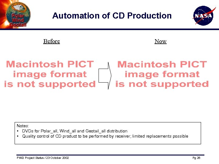 Automation of CD Production Before Now Notes: • DVDs for Polar_all, Wind_all and Geotail_all