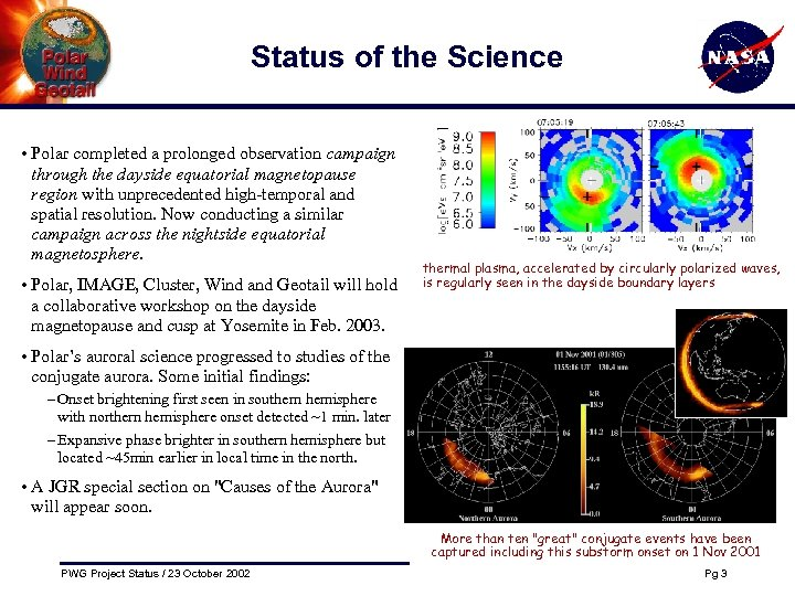 Status of the Science • Polar completed a prolonged observation campaign through the dayside