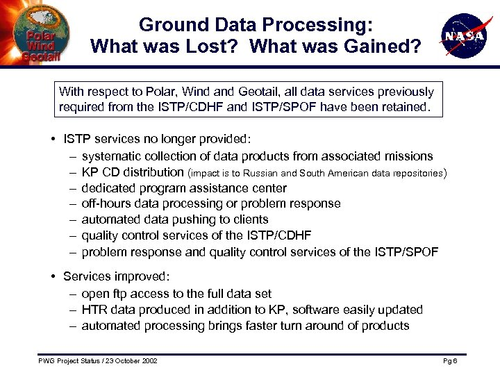 Ground Data Processing: What was Lost? What was Gained? With respect to Polar, Wind