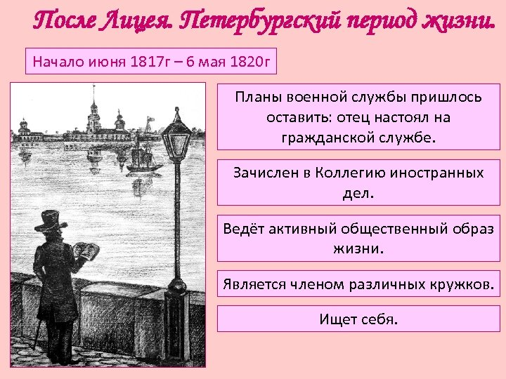 После Лицея. Петербургский период жизни. Начало июня 1817 г – 6 мая 1820 г
