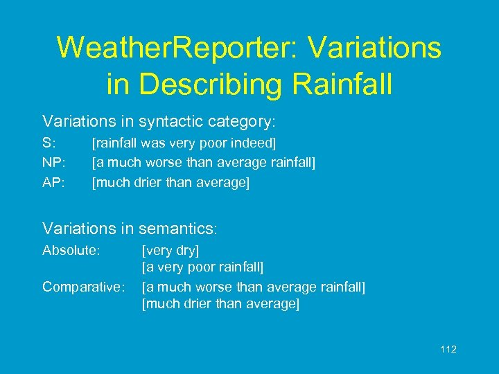 Weather. Reporter: Variations in Describing Rainfall Variations in syntactic category: S: NP: AP: [rainfall