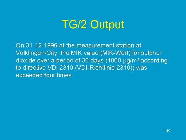 TG/2 Output On 31 -12 -1996 at the measurement station at Völklingen-City, the MIK