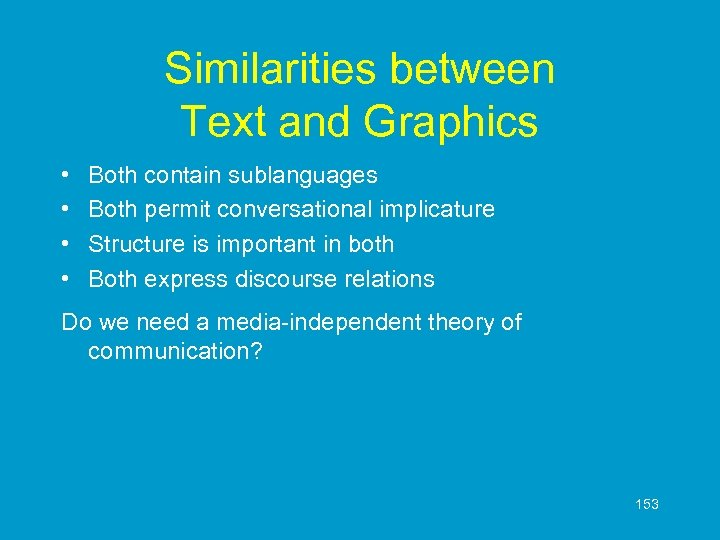 Similarities between Text and Graphics • • Both contain sublanguages Both permit conversational implicature