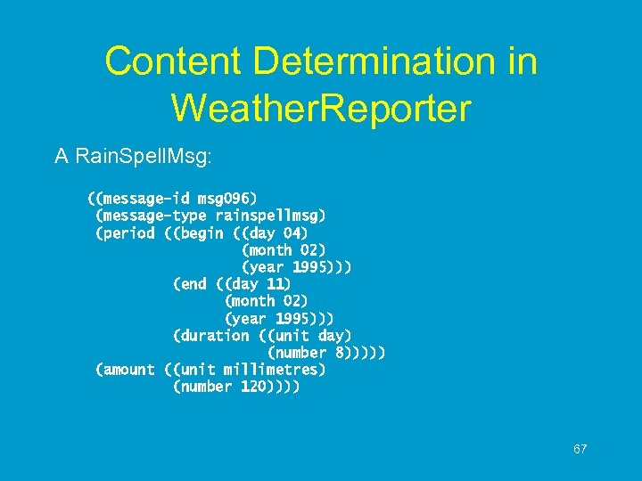 Content Determination in Weather. Reporter A Rain. Spell. Msg: ((message-id msg 096) (message-type rainspellmsg)