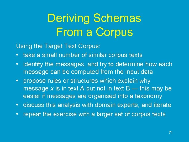 Deriving Schemas From a Corpus Using the Target Text Corpus: • take a small