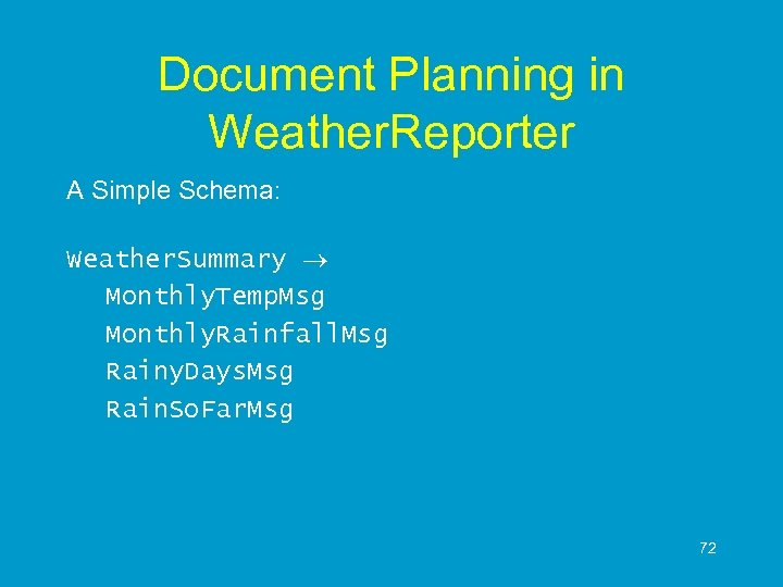 Document Planning in Weather. Reporter A Simple Schema: Weather. Summary Monthly. Temp. Msg Monthly.