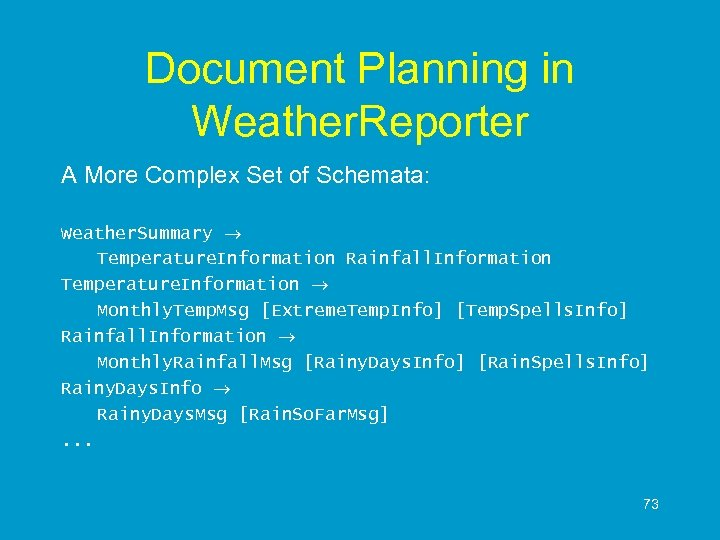 Document Planning in Weather. Reporter A More Complex Set of Schemata: Weather. Summary Temperature.