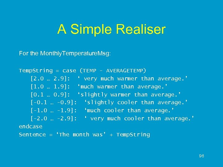 A Simple Realiser For the Monthly. Temperature. Msg: Temp. String = case (TEMP -