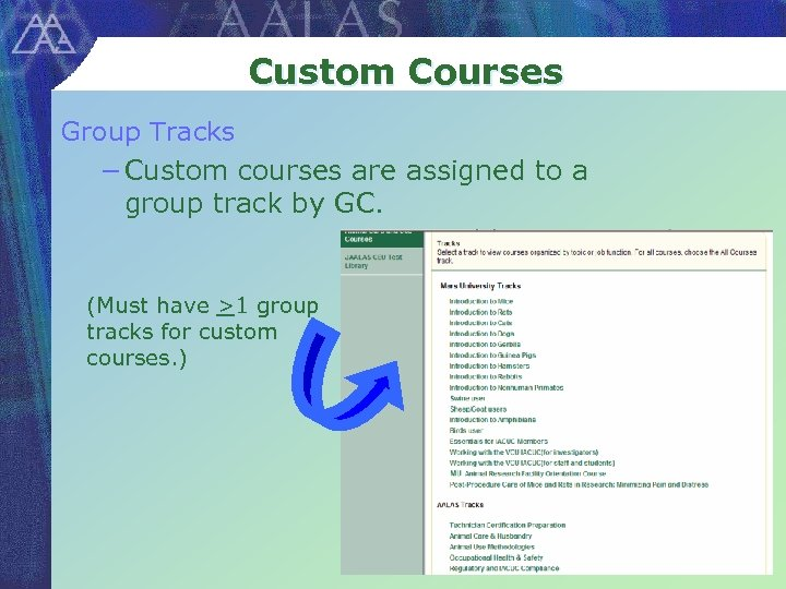 Custom Courses Group Tracks − Custom courses are assigned to a group track by