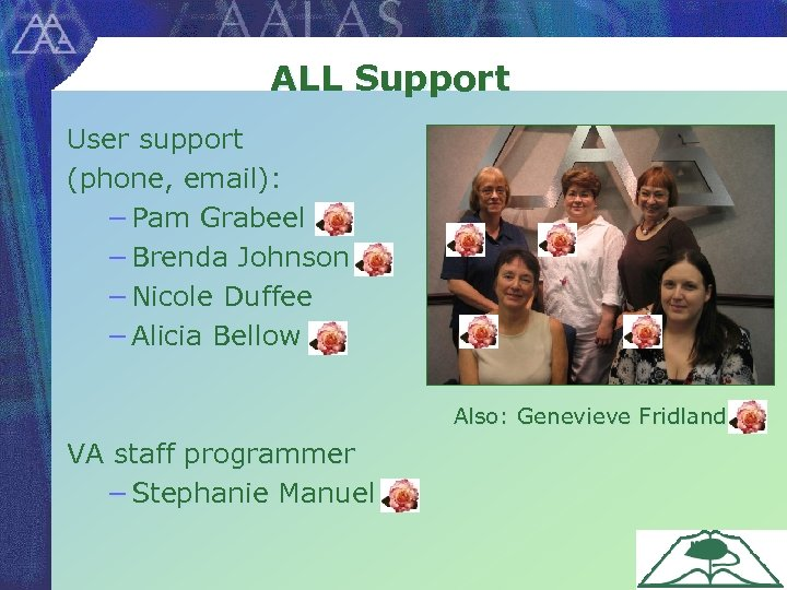 ALL Support User support (phone, email): − Pam Grabeel − Brenda Johnson − Nicole