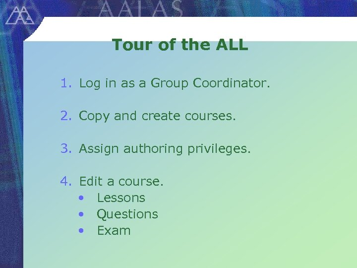 Tour of the ALL 1. Log in as a Group Coordinator. 2. Copy and