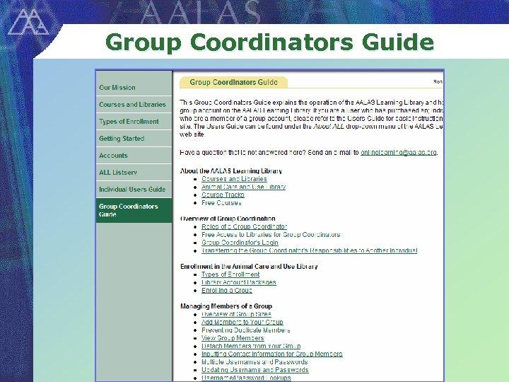 Group Coordinators Guide