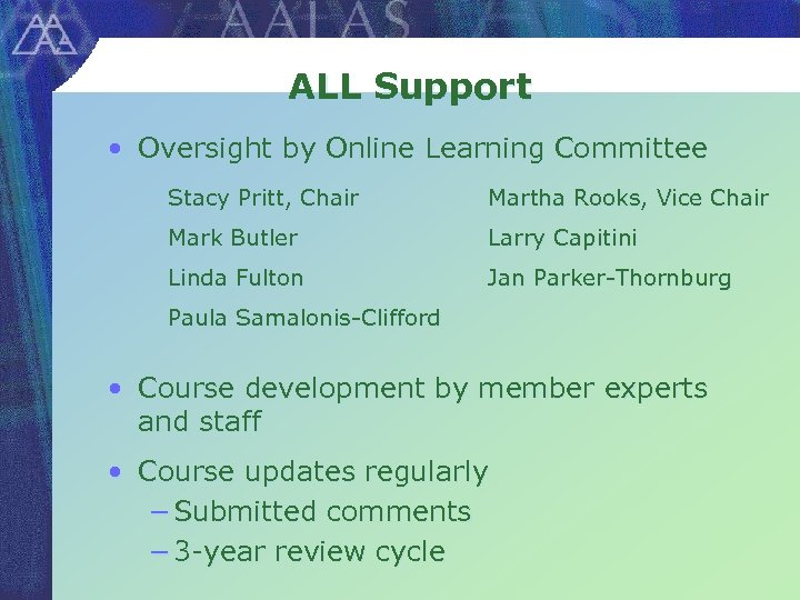 ALL Support • Oversight by Online Learning Committee Stacy Pritt, Chair Martha Rooks, Vice