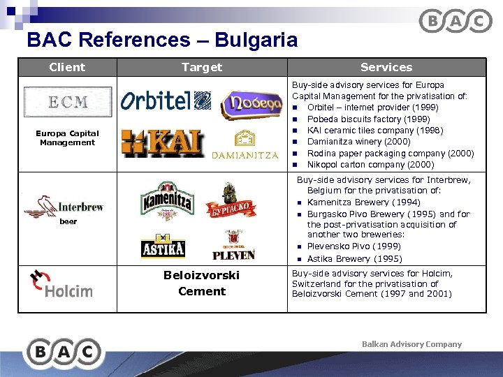 BAC References – Bulgaria Client Target Services Buy-side advisory services for Europa Capital Management
