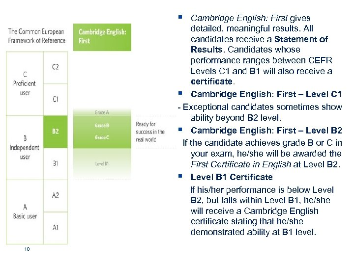 § Cambridge English: First gives detailed, meaningful results. All candidates receive a Statement of