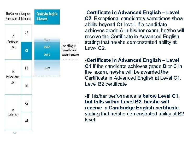-Certificate in Advanced English – Level C 2 Exceptional candidates sometimes show ability beyond