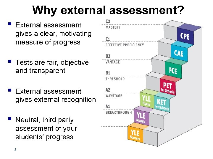Why external assessment? § External assessment gives a clear, motivating measure of progress §