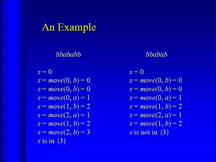 An Example bbababb s=0 s = move(0, b) = 0 s = move(0, a)