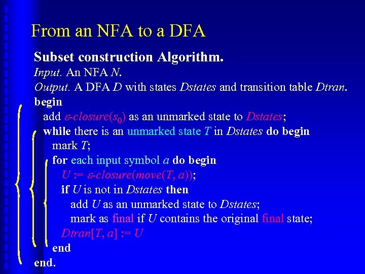 From an NFA to a DFA Subset construction Algorithm. Input. An NFA N. Output.