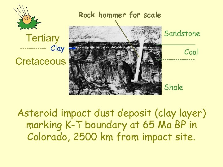 Rock hammer for scale Tertiary Sandstone Clay Coal Cretaceous Shale Asteroid impact dust deposit