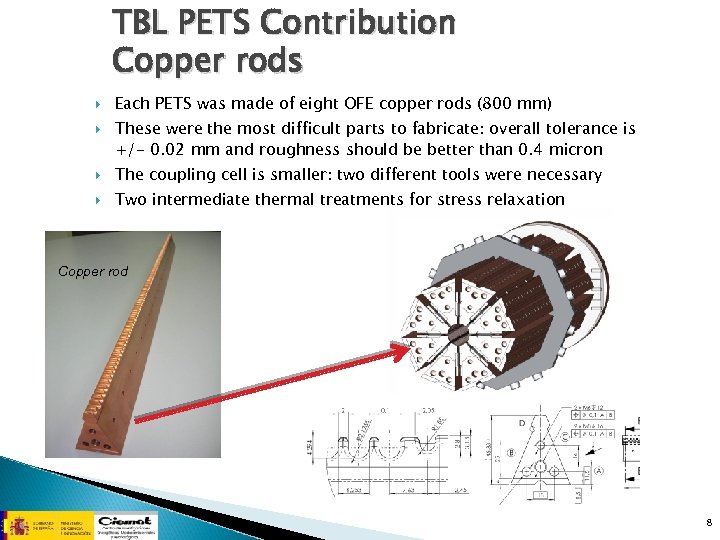 TBL PETS Contribution Copper rods Each PETS was made of eight OFE copper rods